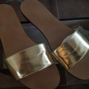 J. Crew gold slides gently worn size 10